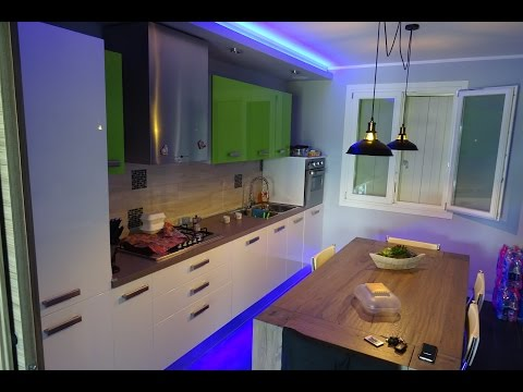 Kitchen false ceiling with leds  time lapse