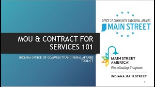 MOU & Contract for Services 101
