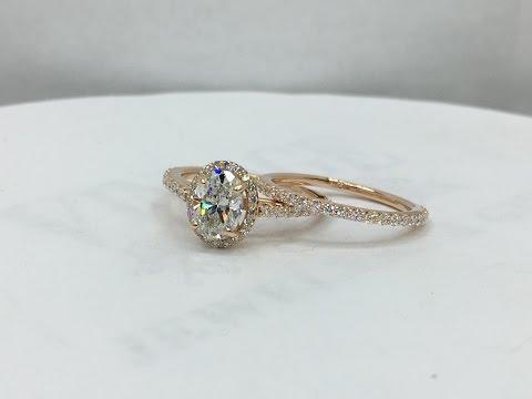 Diamond Micro pave oval center halo wedding ring set