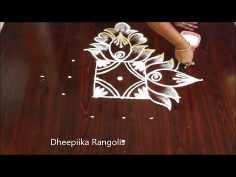 easy 5 dot latest rangoli design by dheepiika rangolis