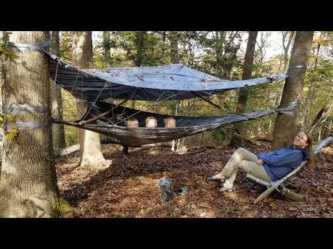 Duct Tape Hammock Tent Camping + Rabbit Catch & Cook