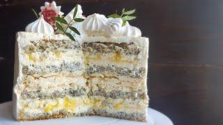 Вкуснейший МАКОВЫЙ ТОРТ с лимонным курдом и БЕЗЕ🍋POPPY SEED cake