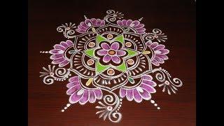 Beautiful Lotus Rangoli Designs 2018 * new Freehand Sankranthi Muggulu  * Latest Kolam with colors