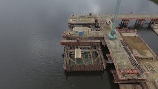 Аэросъемка Дубна с квадрокоптера. Стройка моста.