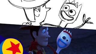 Toy Story 4 Woody's Heart-to-Heart with Forky | Pixar Side By Side
