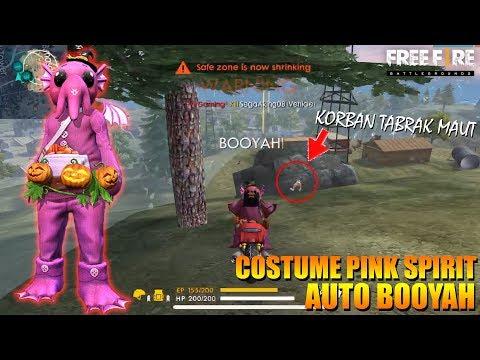 PAKE COSTUME PINK SPIRIT BISA LANGSUNG AUTO BOOYAH COI ! FREE FIRE INDONESIA
