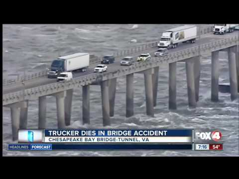 High Winds Blows Truck Off Bridge