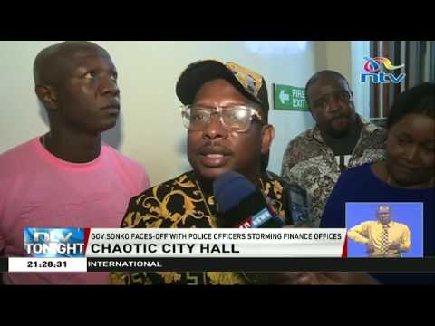 Drama as Governor Sonko faces off with police officers at City Hall