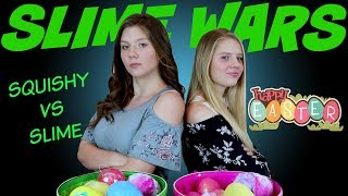SLIME WARS || SOFT N SLOW SQUISHIES VS SLIME EASTER EDITION || Taylor and Vanessa