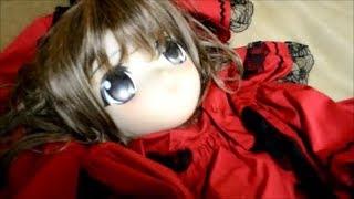 Female Mask Kigurumi Doll red Dress Zentai Girl  Mask Off / On