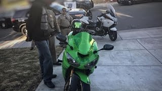 BIKER BUSTED:  Raw CHP helicopter video of biker tearing off side view mirror of car