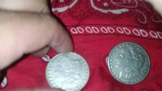 2 Morgan silver dollars 1895 & 1891 no mint marks