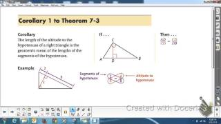 Geometry 7.4 Similarity In Right Triangles