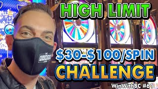 High Limit $30-$100/Spin CHALLENGE 🎰 Pinball & Wheel of Fortune Slots