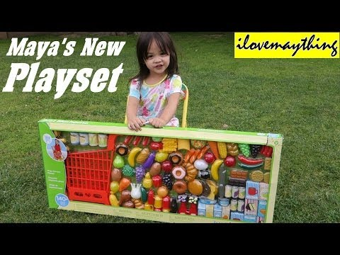 Kitchen Toy Set for Little Girls: Maya's New Grocery Shopping Cart Set