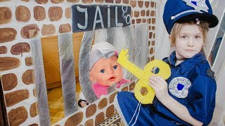 Yana playing as Cop LOCKED UP Nastya in Jail Playhouse Toy for Kids