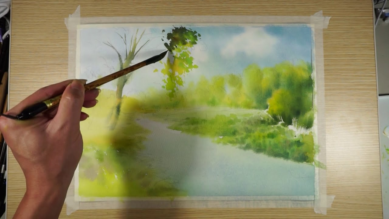 watercolor painting silent river by art painting workshop