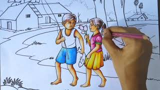 HOW TO DRAW VERY EASY #SCENERY WITH #HUMAN-FIGURES STEP BY STEP FOR BEGINNERS WITH #PASTEL COLORS