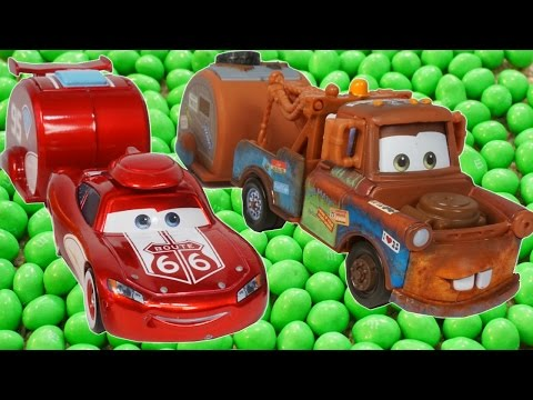 LIGHTNING MCQUEEN AND MATER FIND MAGIC BEANS!!! FUNNY JOKE CARS TOON CANDY FUN ROAD TRIP!