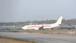 preview picture of video 'All White Caribbean Airlines 737-800 Landing in Antigua'