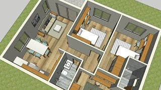 90m2 - House Plan And Interior Plans / 3 Bedrooms And 2 Bathrooms