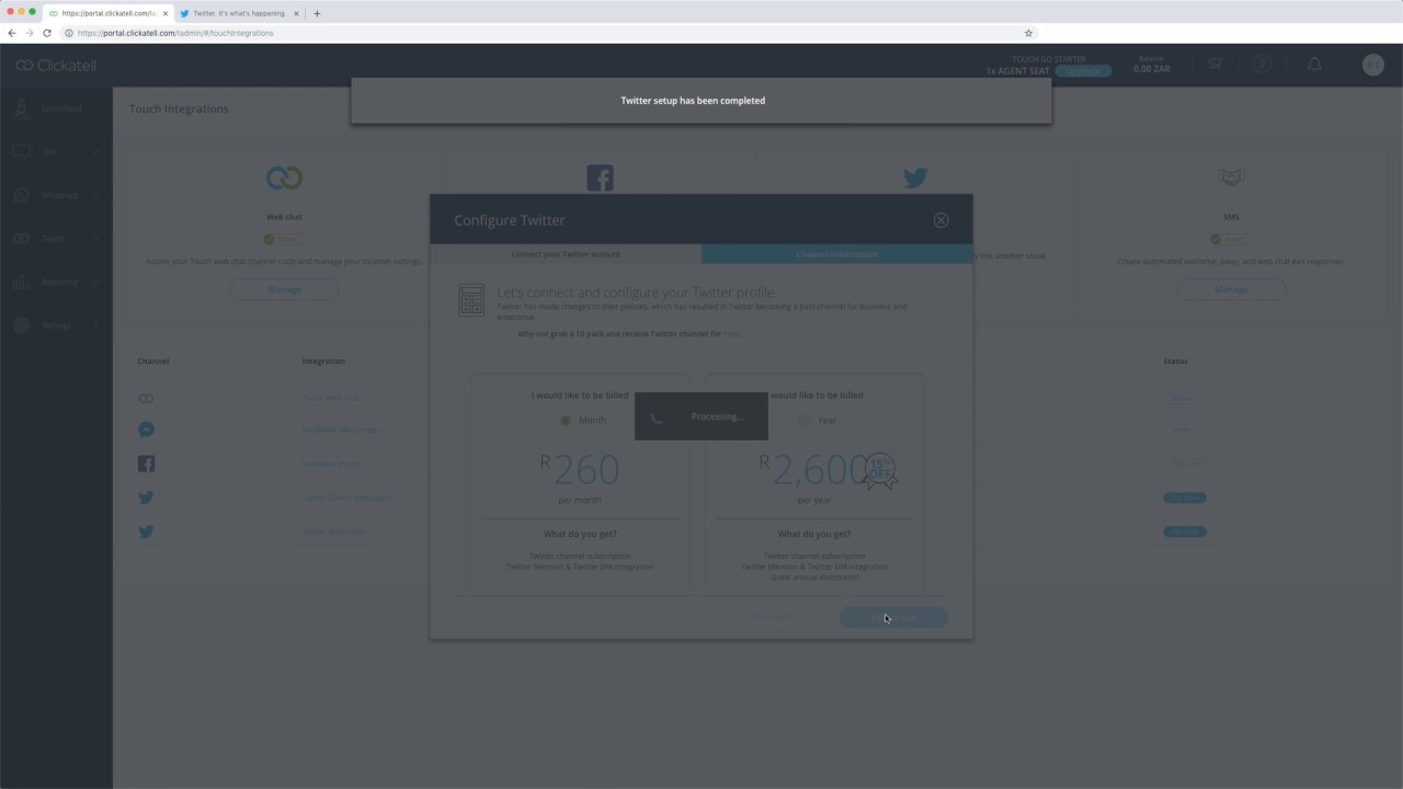 Clickatell Tutorial - Configure Facebook and Twitter Accounts