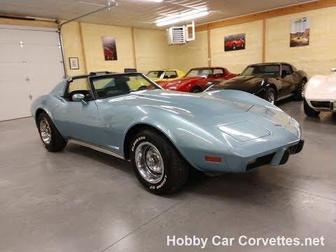 1977 Light Blue Corvette L82 4spd For Sale Video