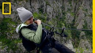 Cara Delevingne Pulls Herself Across A Canyon   Running Wild With Bear Grylls