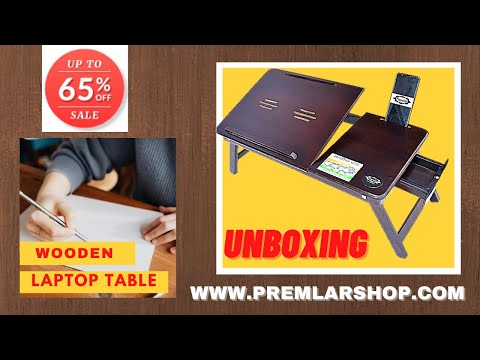 Foldable Wooden Laptop Table With Drawer (Walnut)