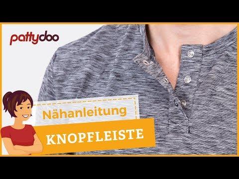 Poloverschluss bzw. Knopfleiste in ein T-Shirt nähen - Schritt für Schritt Tutorial