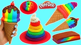 Play Doh Rainbow Swirl, Ice Cream Sandwich, Donut & More Desserts!