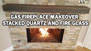 Fireplace Makeover Quartz Wall Stone Installation