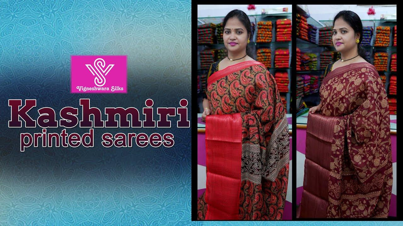 "<p style=""color: red"">Video : </p>Kashmiri printed sarees || Vigneshwara Silks ||//vigneshwarasilks.com 2021-10-14"