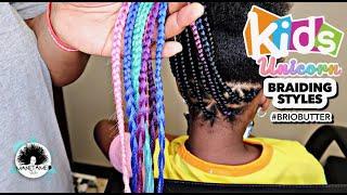KIDS Feed Ins W/ Unicorn Color Braids | Kids Natural Hair | Kids Salon Visit | MANETAMED