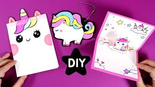 귀염뽀짝 유니콘세트 만들기!★DIY Unicorn Crafts!-easy & cute ideas★/School Supplies/노트/고리/팝업카드_예뿍