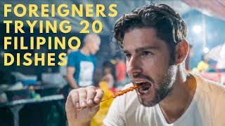 FOREIGNERS TRY CRAZY GOOD FILIPINO FOOD & FILIPINO STREET FOOD