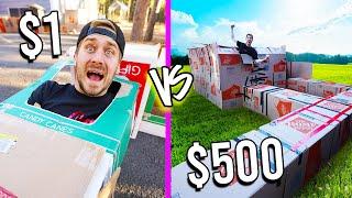 $1 VS $500 BOX FORTS! *Budget Challenge*