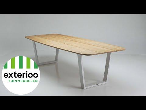 Pagino tafel wit-naturel - aluminium met tafelblad in teak - L 280  x B 115 cm