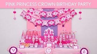 Pink Princess Crown Birthday Party Ideas // Pink Princess Crown - B83