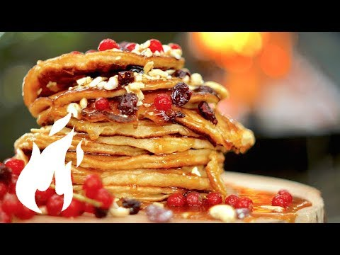 👑 KING 👑 Pancakes   made in Nature on REAL FIRE🔥🔥🔥WARNING: FOODPORN !