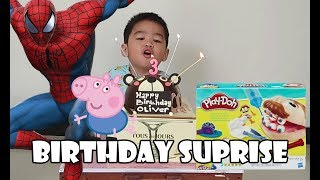 Birthday Morning Surprise And Unboxing Gifts | Play Doh Spiderman Power Ranger Ultraman