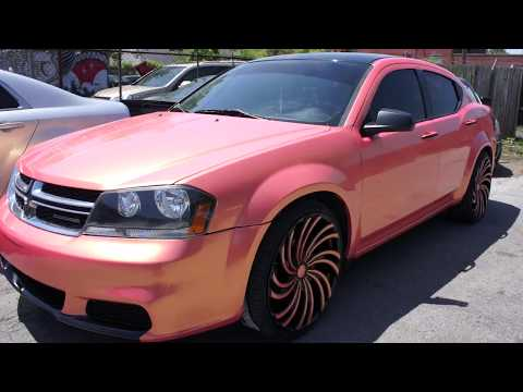 """Wrapped Dodge Avenger on 22"""" Starr Wheels Done by Wrap Starz"""