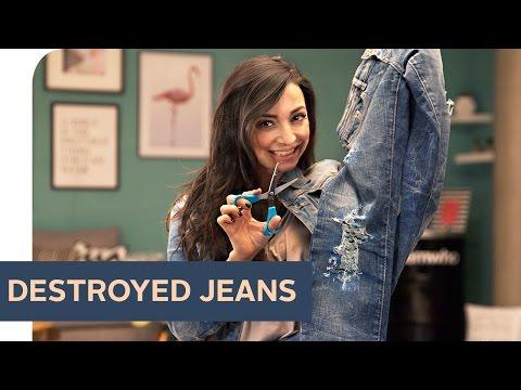 DIY: Destroyed Jeans selber machen ~ refashion   OTTO