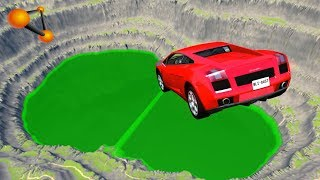 BeamNG.drive - Leap Of Death Car Jumps & Falls Into Green Slime Pit
