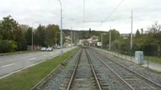 preview picture of video 'Riding tram track in Brno Bystrc 2, Jízda po tramvajové rychlodráze z Bystrce v Brně'