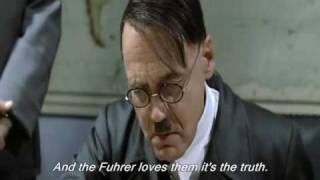"Hitler is shown a music video for the ""Join the Hitler Youth!"" campaign"