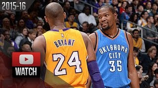 Kevin Durant vs Kobe Bryant EPIC DUEL Highlights (2016.01.08) Lakers vs Thunder - DRAMA!