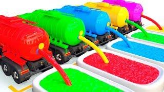 nauka kolorów uczymy typy pojazdów Wóż Strażacki Ciężarówka Betoniarka