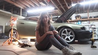 Just A Girl Prepping Her Race Car.