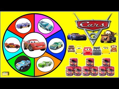 Disney Cars 3 MASHEMS Spinning Wheel GAME With Cars Surprise Toys Opening